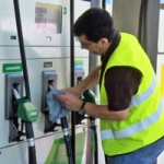 At work in a BP garage